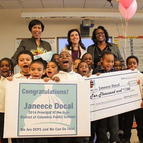 Janeece Docal receives 2014 Principal of the Year Award. (Credit: DCPS)