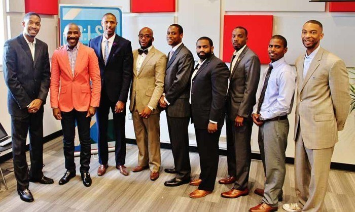 "From left, Presenter Darren ""RUSH"" Franklin, Keynote Speaker Raymond Bell, YGI Founder Sadqi Ali, Host Travis Ellis, and Presenters Jamil White, Rob Hall, Victorious Hall, Warees Majeed and Clarence Thompson. (Credit: Malcolm Lewis Barnes)"